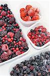 Plastic containers of frozen mixed berries in snow - red currant, cranberry, raspberry, blackberry, bilberry, blueberry, black currant, strawberry Stock Photo - Royalty-Free, Artist: brozova                       , Code: 400-05915124