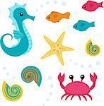 Set of sea life: seahorse, fish, shell, starfish, crab
