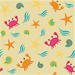 Colorful seamless pattern with crabs, shells and stars
