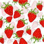 Seamless white floral pattern with red strawberries(vector) Stock Photo - Royalty-Free, Artist: OlgaDrozd                     , Code: 400-05916875