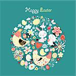graphical greeting card with Easter bunnies and chickens and eggs on a dark blue background Stock Photo - Royalty-Free, Artist: tanor                         , Code: 400-05916982