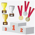Set of awards and prizes for sport competitions. Also available as a Vector in Adobe illustrator EPS 8 format, compressed in a zip file.