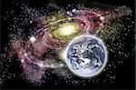 Planet earth in the forground and galaxy in the background Stock Photo - Royalty-Free, Artist: smarnad                       , Code: 400-05917205