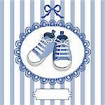 Blue shoes or pair kids sneaker background, oval lace frame, ribbon and shield for you text Stock Photo - Royalty-Free, Artist: ElaKwasniewski                , Code: 400-05917360