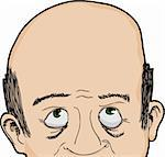 Cropped face of bald Caucasian man looking up Stock Photo - Royalty-Free, Artist: theblackrhino                 , Code: 400-05917428