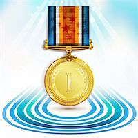 Gold medal with ribbon over sky background Stock Photo - Royalty-Freenull, Code: 400-05917744