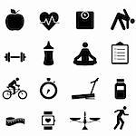 Fitness and diet icon set in black Stock Photo - Royalty-Free, Artist: soleilc                       , Code: 400-05917839