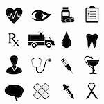Health and medical icon set in black Stock Photo - Royalty-Free, Artist: soleilc                       , Code: 400-05917840