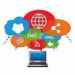 Social network symbols in speech balloons Stock Photo - Royalty-Free, Artist: soleilc                       , Code: 400-05917841