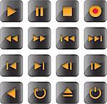 Multimedia control glossy icon/button set for web, applications, electronic and press media.Vector illustration Stock Photo - Royalty-Free, Artist: mmar                          , Code: 400-05919536