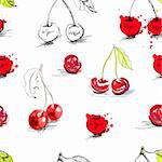 Seamless background with stylized cherry Stock Photo - Royalty-Free, Artist: Ateli                         , Code: 400-05920055