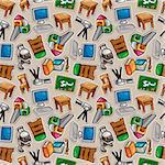 Cartoon school icons seamless pattern Stock Photo - Royalty-Free, Artist: notkoo2008                    , Code: 400-05920127