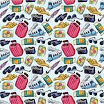 travel icons seamless pattern Stock Photo - Royalty-Free, Artist: notkoo2008                    , Code: 400-05920133