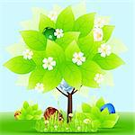 Easter Greeting Card with tree grass flowers and eggs Stock Photo - Royalty-Free, Artist: WaD                           , Code: 400-05920145