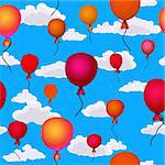red balloons flying up in the sky seamless background Stock Photo - Royalty-Free, Artist: 100ker                        , Code: 400-05920788
