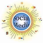 Social media components displayed as a wheel with icons. AI EPS 8 Vector. Stock Photo - Royalty-Free, Artist: smarnad                       , Code: 400-05920969