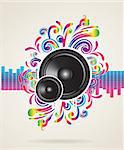 Music concept with equalizer and speaker, vector illustration Stock Photo - Royalty-Free, Artist: BooblGum                      , Code: 400-05921003