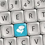Concept Social Media - Computer keyboard with a key Speech Bubbles, vector illustration Stock Photo - Royalty-Free, Artist: TAlex                         , Code: 400-05923986