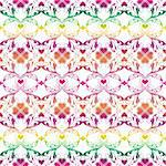 Seamless pattern of hearts and floral