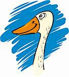 cartoon humorous illustration of funny farm goose Stock Photo - Royalty-Free, Artist: izakowski                     , Code: 400-05925741