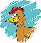 cartoon humorous illustration of funny farm hen Stock Photo - Royalty-Free, Artist: izakowski                     , Code: 400-05925742