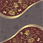 Gold and purple-gray floral frame with curls and butterflies (vector EPS10) Stock Photo - Royalty-Free, Artist: OlgaDrozd                     , Code: 400-05925957