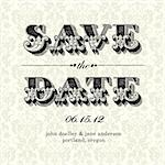 Vector Vintage Save the Date Card. Easy to edit. All pieces are separated. Stock Photo - Royalty-Free, Artist: createfirst                   , Code: 400-05926805