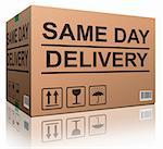 package delivery same day shipment urgent and quick cardboard box internet web shop order delivery Stock Photo - Royalty-Free, Artist: kikkerdirk                    , Code: 400-05927613