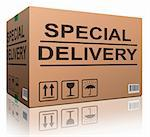 special delivery important shipment special package sending express shipping cardboard box isolated and with txt