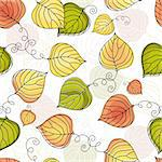 Autumn seamless white floral pattern with colorful leaves (vector) Stock Photo - Royalty-Free, Artist: OlgaDrozd                     , Code: 400-05927645