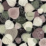 Autumn seamless dark floral pattern with transparent leaves (vector EPS 10) Stock Photo - Royalty-Free, Artist: OlgaDrozd                     , Code: 400-05927821