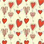 Seamless cartoon romantic pattern with hearts on ropes with bows