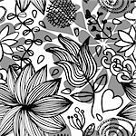 Seamless black and white floral pattern with drops and design elements