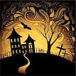 Halloween background with pumpkin, night bat, tree and house Stock Photo - Royalty-Free, Artist: BooblGum                      , Code: 400-05928847