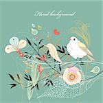 bright graphic floral background with a bird on a green Stock Photo - Royalty-Free, Artist: tanor                         , Code: 400-05928856