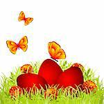 Three red Easter eggs in the grass with flowers and butterflies Stock Photo - Royalty-Free, Artist: tassel78                      , Code: 400-05930337