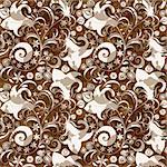 Seamless brown floral pattern with flowers and transparent butterflies (vector EPS 10)