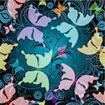 Seamless dark floral pattern with transparent flowers and butterflies (vector EPS 10)