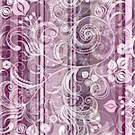 Pink and gray striped seamless pattern with transparent flowers (vector EPS 10) Stock Photo - Royalty-Free, Artist: OlgaDrozd                     , Code: 400-05934207