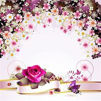 Background with flowers and butterflies Stock Photo - Royalty-Freenull, Code: 400-05934646