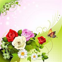 Background with roses and butterflies Stock Photo - Royalty-Freenull, Code: 400-05934647