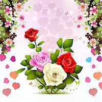 Valentine's day card with roses Stock Photo - Royalty-Freenull, Code: 400-05934653