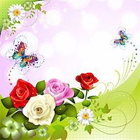 Background with roses and butterflies Stock Photo - Royalty-Freenull, Code: 400-05934695