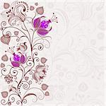 Gentle floral frame with curls and violet flowers (vector) Stock Photo - Royalty-Free, Artist: OlgaDrozd                     , Code: 400-05934696