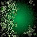 Dark green floral frame with flowers and butterflies (vector EPS 10) Stock Photo - Royalty-Free, Artist: OlgaDrozd                     , Code: 400-05936132