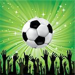 Soccer ball for football sport with fan hands silhouettes. Vector illustration. Element for design. Stock Photo - Royalty-Free, Artist: svetap                        , Code: 400-05936184