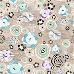 Bright and seamless abstract floral pattern on a brown background Stock Photo - Royalty-Free, Artist: tanor                         , Code: 400-05936644