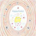 bright cheerful Easter card greeting with chicken and flowers Stock Photo - Royalty-Free, Artist: tanor                         , Code: 400-05936645