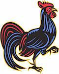 illustration of a rooster cockerel marching viewed from side done in retro woodcut style on isolated white background. Stock Photo - Royalty-Free, Artist: patrimonio                    , Code: 400-05937133