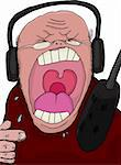 Angry talk show host screaming into a microphone Stock Photo - Royalty-Free, Artist: theblackrhino                 , Code: 400-05937507